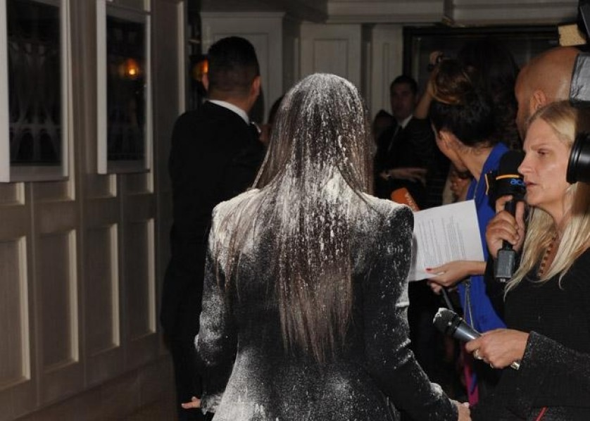 Kim Kardashian - flour bombed - Bang - 23 March 2012